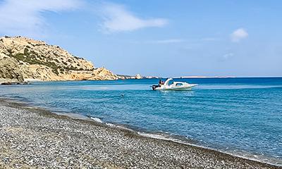 beach with rib boat naxos day boat trip