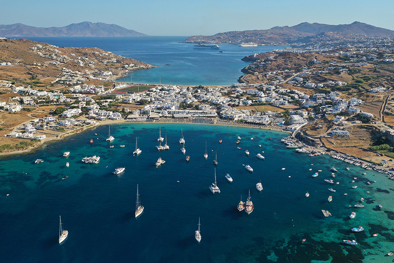 Ornos bay Mykonos, south coast with yachts