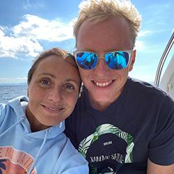xanemo sailing owners with xanemo sailing tee shirt and hoody