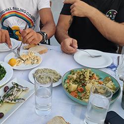 tavern meal with xanemo sailing tee-shirt